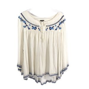 Embroidered Romanian Style White Blue Floral Tunic